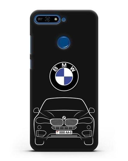 Чехол BMW X6 с автомобильным номером силикон черный для Honor 7А Pro