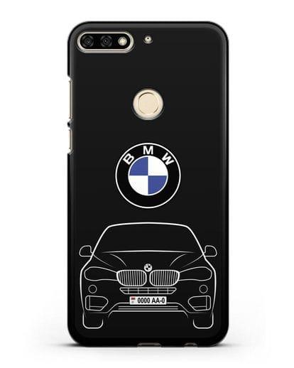 Чехол BMW X6 с автомобильным номером силикон черный для Honor 7C
