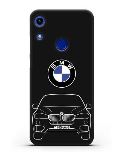 Чехол BMW X6 с автомобильным номером силикон черный для Honor 8A