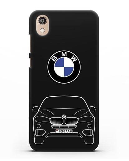 Чехол BMW X6 с автомобильным номером силикон черный для Honor 8S