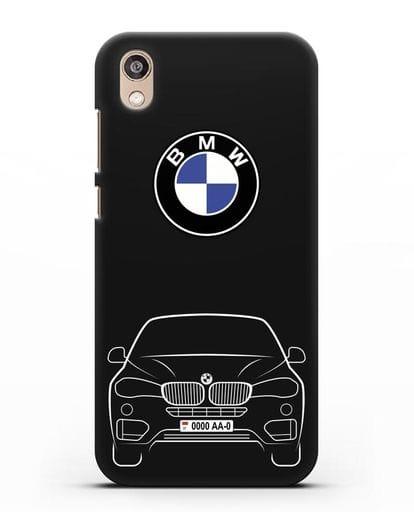 Чехол BMW X6 с автомобильным номером силикон черный для Honor 8S Prime