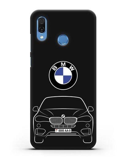Чехол BMW X6 с автомобильным номером силикон черный для Honor Play