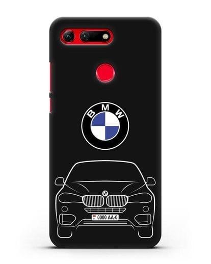 Чехол BMW X6 с автомобильным номером силикон черный для Honor View 20