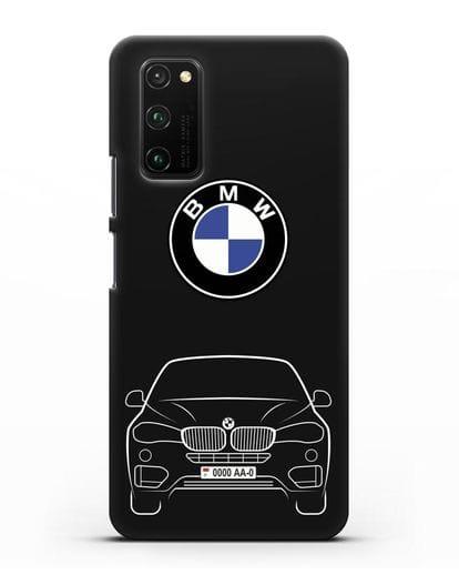 Чехол BMW X6 с автомобильным номером силикон черный для Honor View 30 Pro