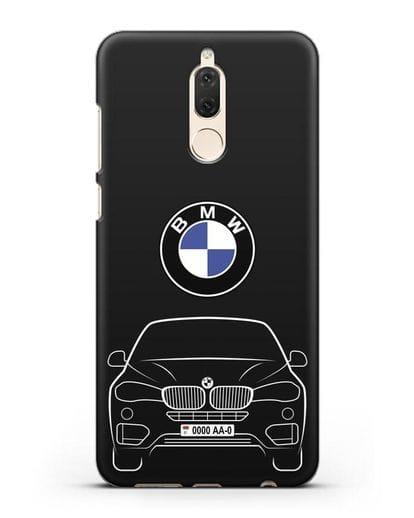Чехол BMW X6 с автомобильным номером силикон черный для Huawei Mate 10 Lite