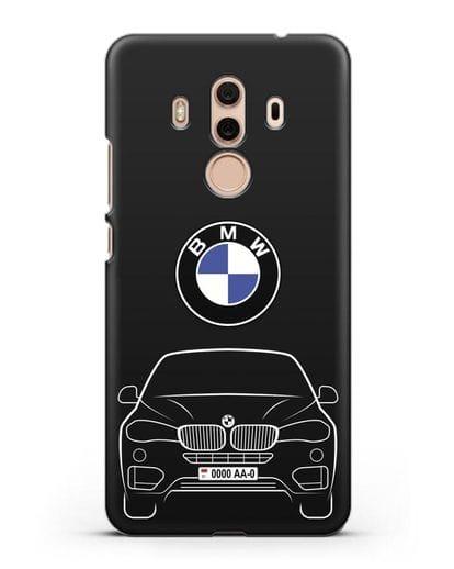 Чехол BMW X6 с автомобильным номером силикон черный для Huawei Mate 10 Pro