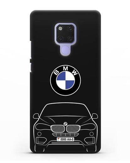 Чехол BMW X6 с автомобильным номером силикон черный для Huawei Mate 20X