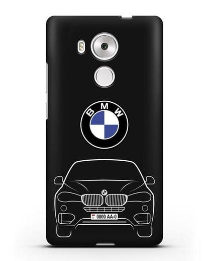Чехол BMW X6 с автомобильным номером силикон черный для Huawei Mate 8