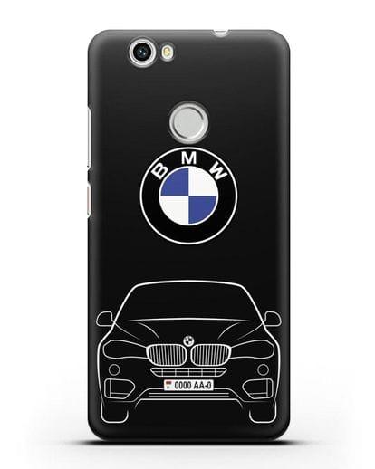 Чехол BMW X6 с автомобильным номером силикон черный для Huawei Nova