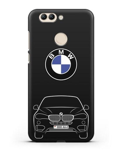 Чехол BMW X6 с автомобильным номером силикон черный для Huawei Nova 2 Plus
