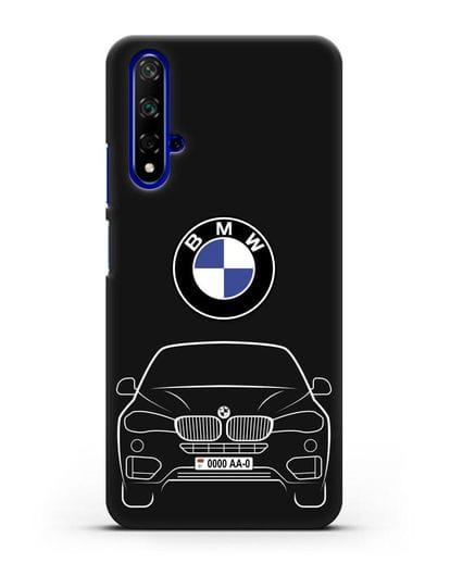 Чехол BMW X6 с автомобильным номером силикон черный для Huawei Nova 5T