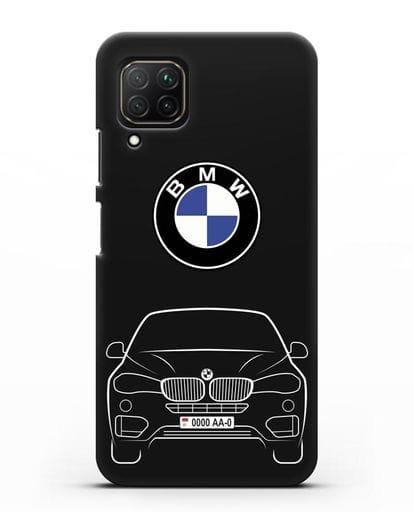 Чехол BMW X6 с автомобильным номером силикон черный для Huawei Nova 7i