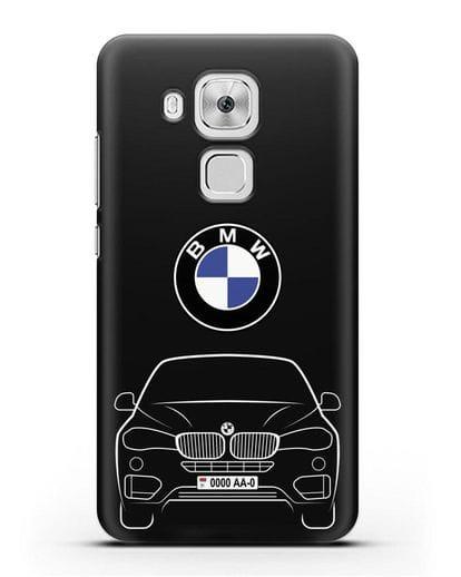 Чехол BMW X6 с автомобильным номером силикон черный для Huawei Nova Plus