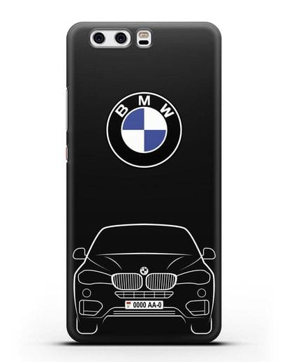 Чехол BMW X6 с автомобильным номером силикон черный для Huawei P10