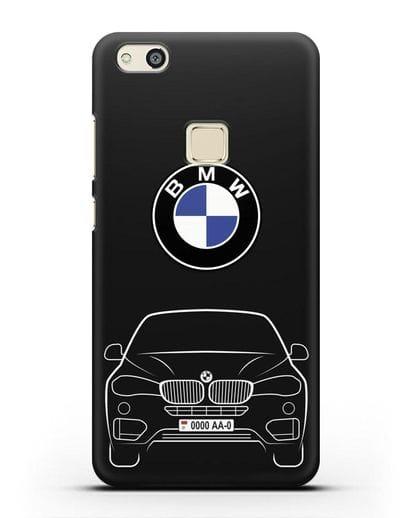 Чехол BMW X6 с автомобильным номером силикон черный для Huawei P10 Lite