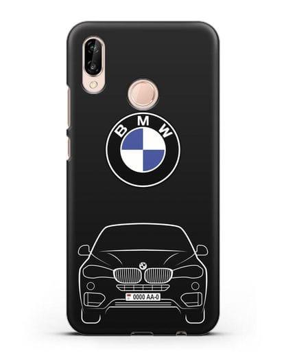 Чехол BMW X6 с автомобильным номером силикон черный для Huawei P20 Lite