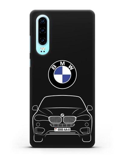 Чехол BMW X6 с автомобильным номером силикон черный для Huawei P30