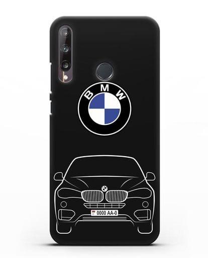 Чехол BMW X6 с автомобильным номером силикон черный для Huawei P40 lite E