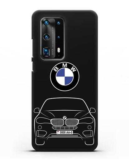 Чехол BMW X6 с автомобильным номером силикон черный для Huawei P40 Pro