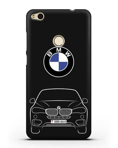 Чехол BMW X6 с автомобильным номером силикон черный для Huawei P8 Lite 2017