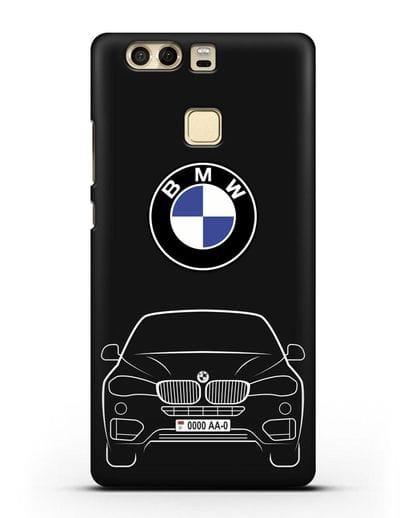 Чехол BMW X6 с автомобильным номером силикон черный для Huawei P9