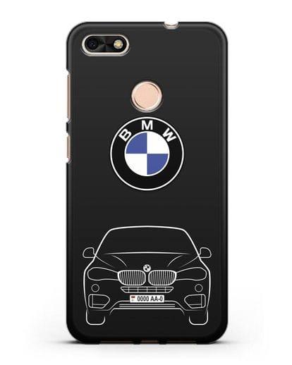Чехол BMW X6 с автомобильным номером силикон черный для Huawei P9 Lite mini