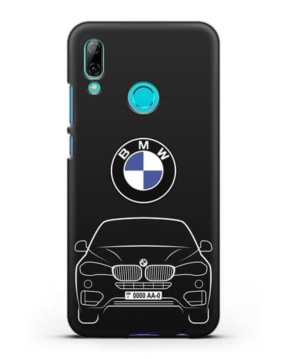 Чехол BMW X6 с автомобильным номером силикон черный для Huawei P Smart 2019
