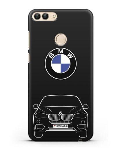 Чехол BMW X6 с автомобильным номером силикон черный для Huawei P Smart