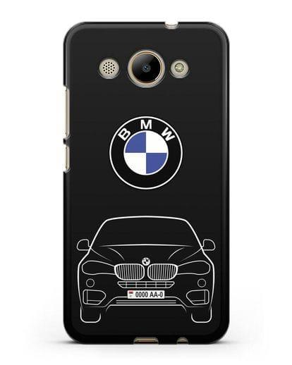 Чехол BMW X6 с автомобильным номером силикон черный для Huawei Y3 2017