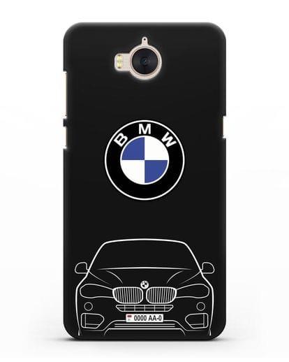 Чехол BMW X6 с автомобильным номером силикон черный для Huawei Y5 2017