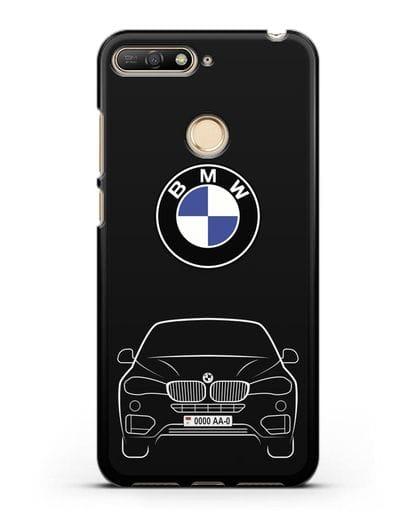Чехол BMW X6 с автомобильным номером силикон черный для Huawei Y6 Prime 2018