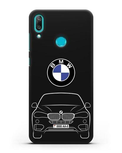 Чехол BMW X6 с автомобильным номером силикон черный для Huawei Y7 2019