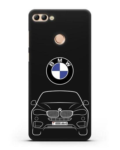 Чехол BMW X6 с автомобильным номером силикон черный для Huawei Y9 2018