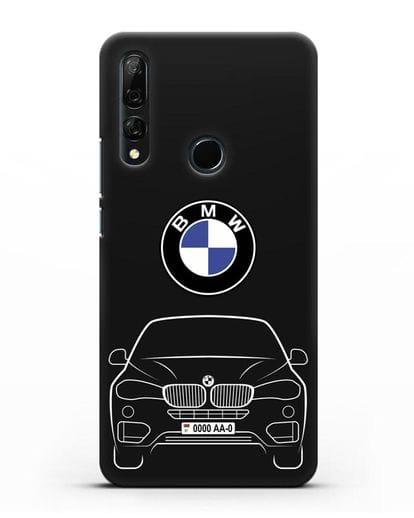 Чехол BMW X6 с автомобильным номером силикон черный для Huawei Y9 Prime 2019