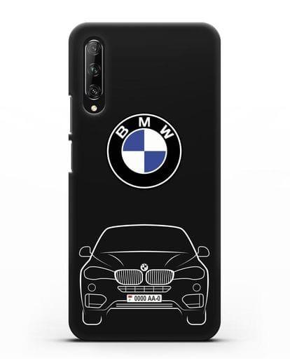 Чехол BMW X6 с автомобильным номером силикон черный для Huawei Y9s