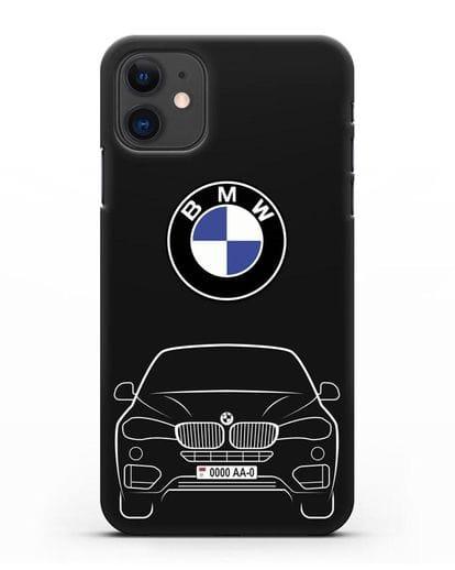 Чехол BMW X6 с автомобильным номером силикон черный для iPhone 11