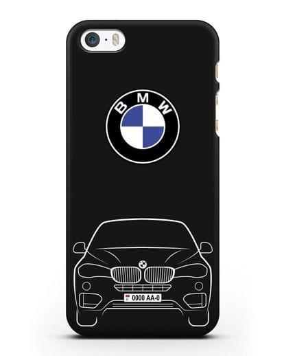 Чехол BMW X6 с автомобильным номером силикон черный для iPhone 5/5s/SE