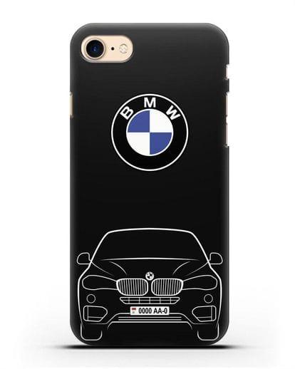 Чехол BMW X6 с автомобильным номером силикон черный для iPhone 8