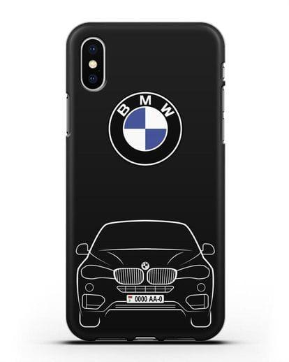 Чехол BMW X6 с автомобильным номером силикон черный для iPhone XS