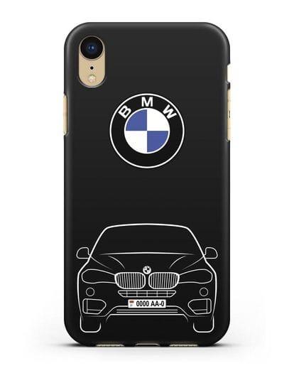 Чехол BMW X6 с автомобильным номером силикон черный для iPhone XR