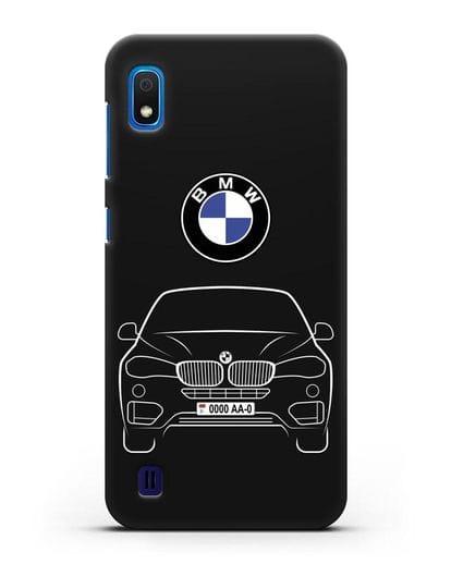 Чехол BMW X6 с автомобильным номером силикон черный для Samsung Galaxy A10 [SM-A105F]