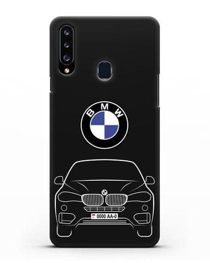 Чехол BMW X6 с автомобильным номером силикон черный для Samsung Galaxy A20s [SM-A207FN]
