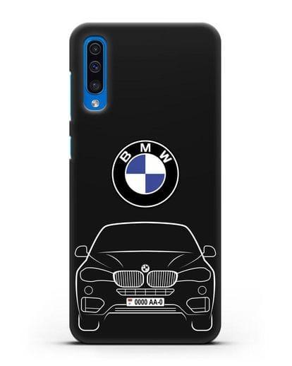 Чехол BMW X6 с автомобильным номером силикон черный для Samsung Galaxy A50 [SM-A505F]