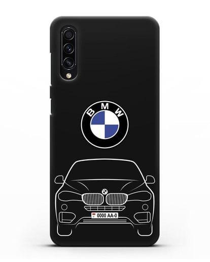Чехол BMW X6 с автомобильным номером силикон черный для Samsung Galaxy A50s [SM-F507FN]