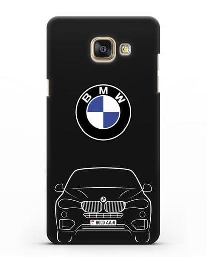 Чехол BMW X6 с автомобильным номером силикон черный для Samsung Galaxy A7 2016 [SM-A710F]
