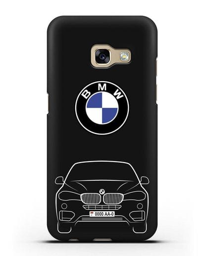 Чехол BMW X6 с автомобильным номером силикон черный для Samsung Galaxy A7 2017 [SM-A720F]
