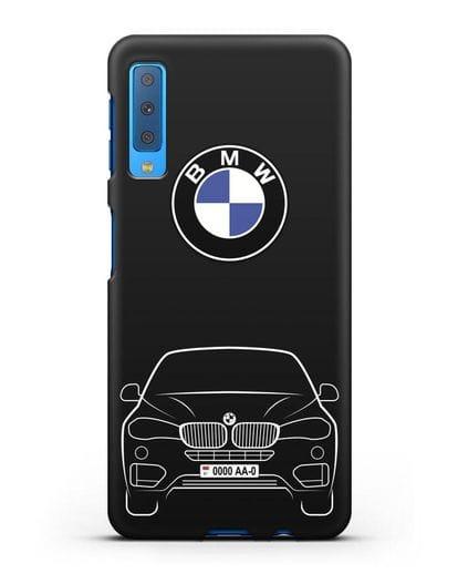 Чехол BMW X6 с автомобильным номером силикон черный для Samsung Galaxy A7 2018 [SM-A750F]