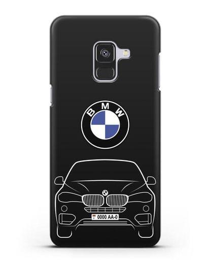 Чехол BMW X6 с автомобильным номером силикон черный для Samsung Galaxy A8 [SM-A530F]