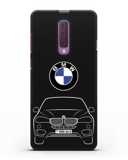 Чехол BMW X6 с автомобильным номером силикон черный для Samsung Galaxy A90 [SM-A908N]