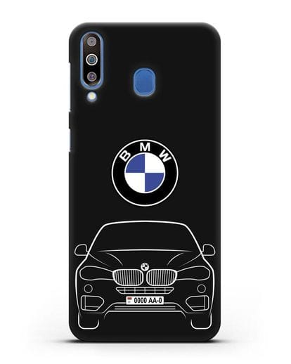 Чехол BMW X6 с автомобильным номером силикон черный для Samsung Galaxy M30 [SM-M305F]